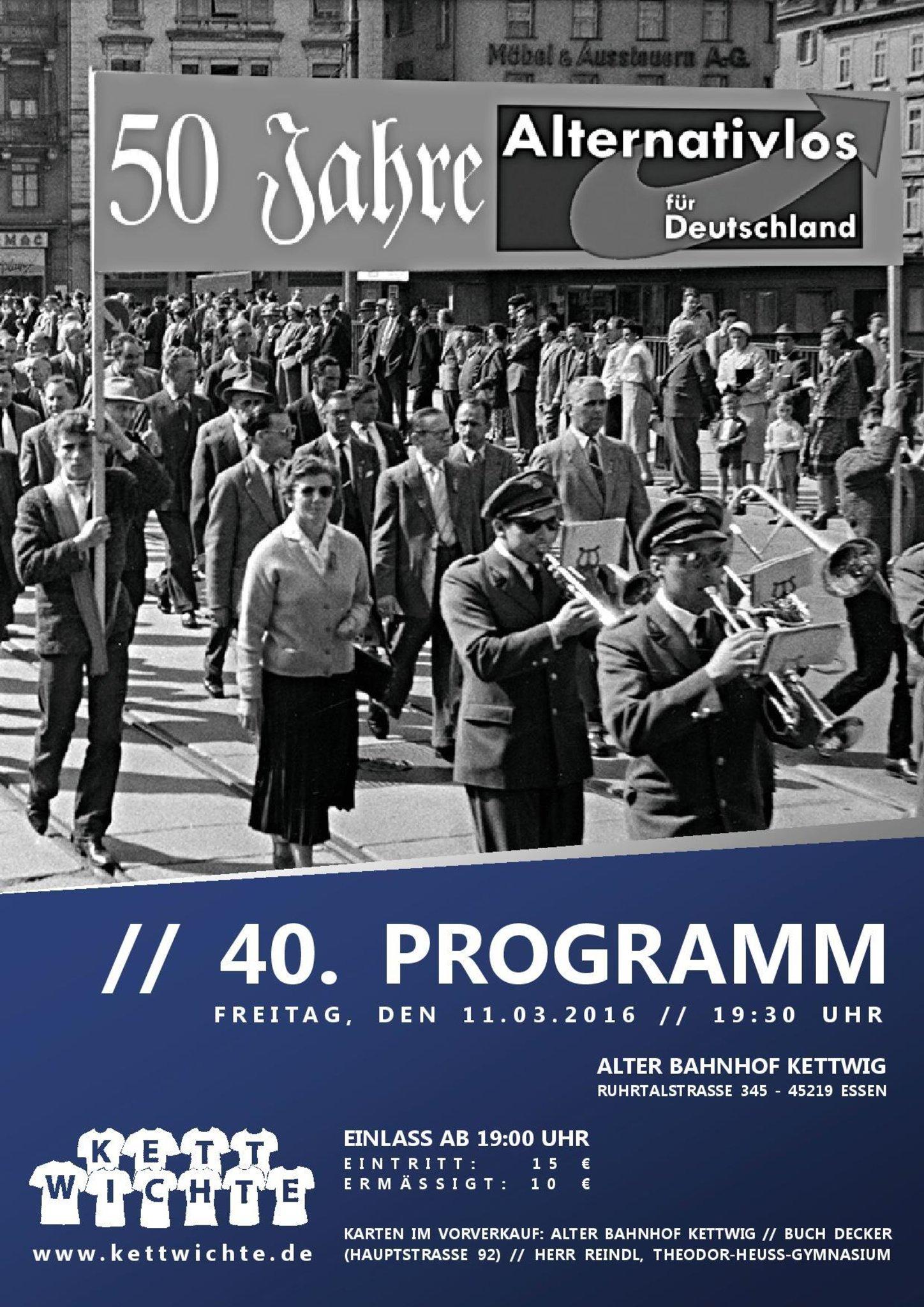 Gut gemocht Das 40. Programm der Kettwichte: 50 Jahre Alternativlos für PG27