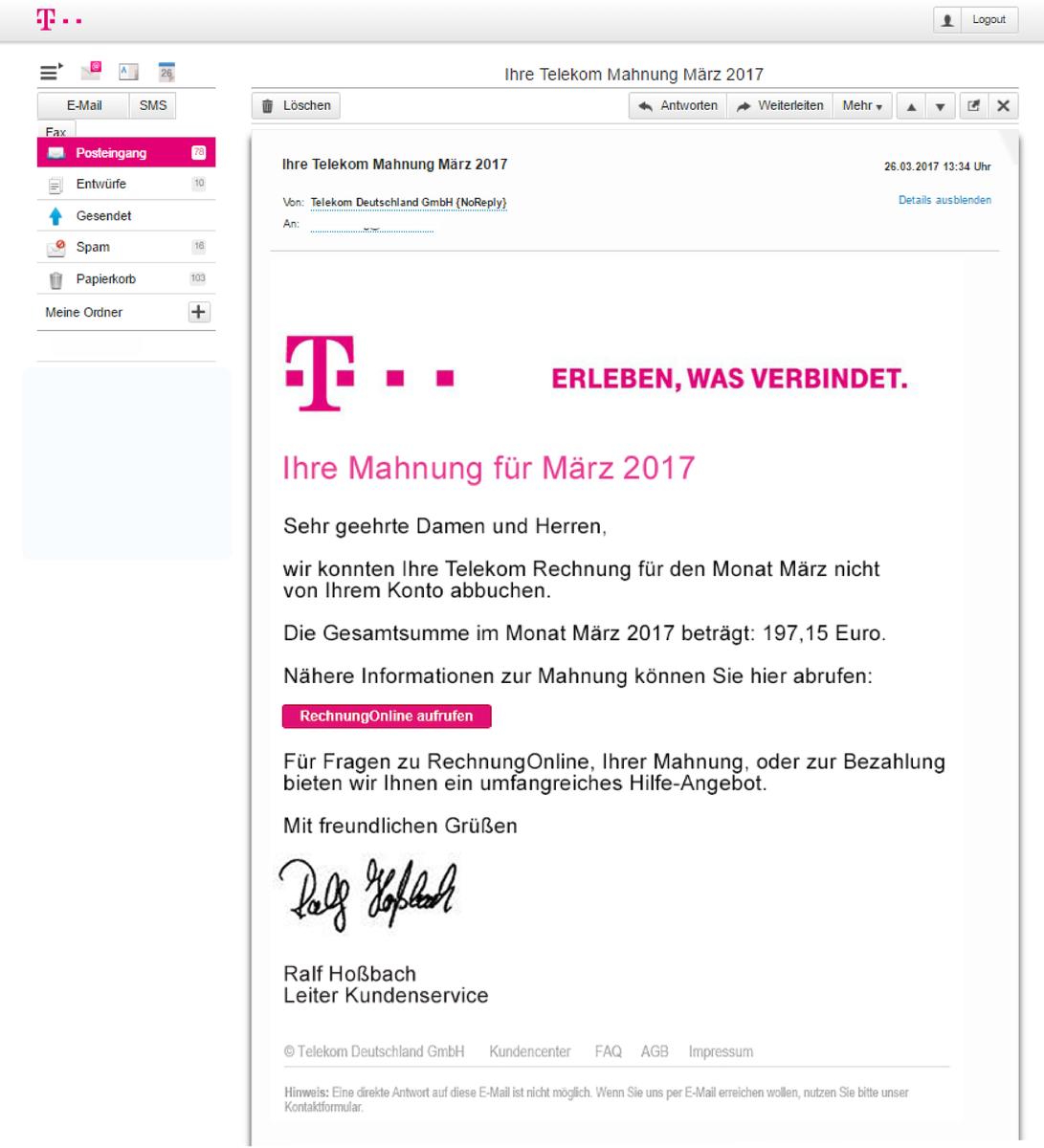 Fake Telekom Mahnung Fake Monheim Am Rhein
