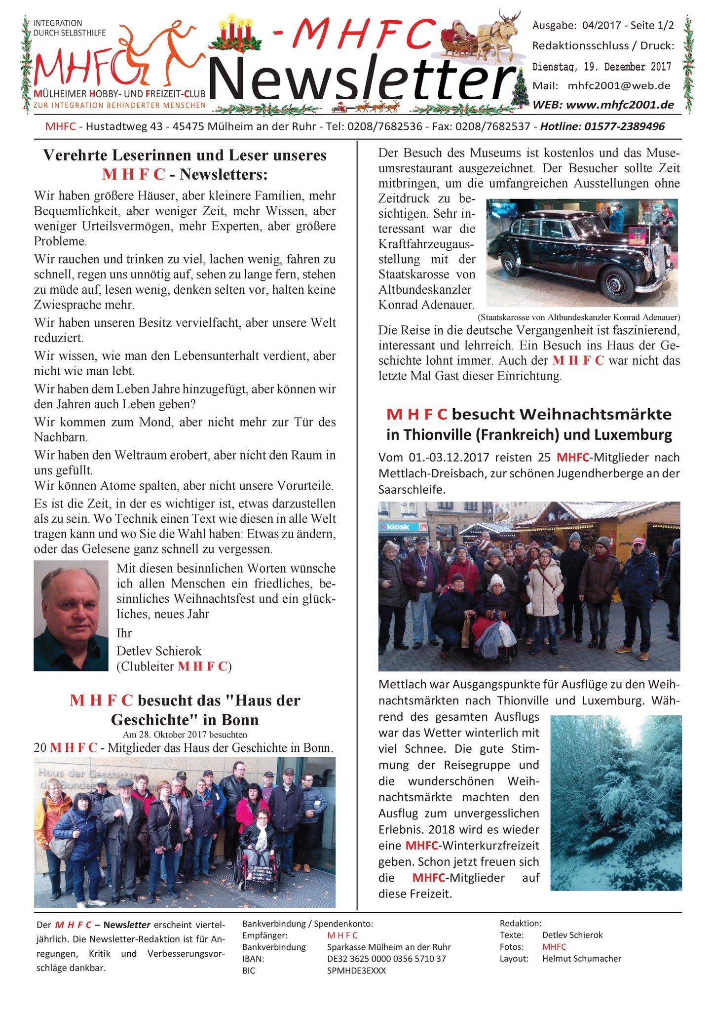 b6abeaa73b M H F C - Newsletter - Weihnachten 2017 - was bisher geschah ...