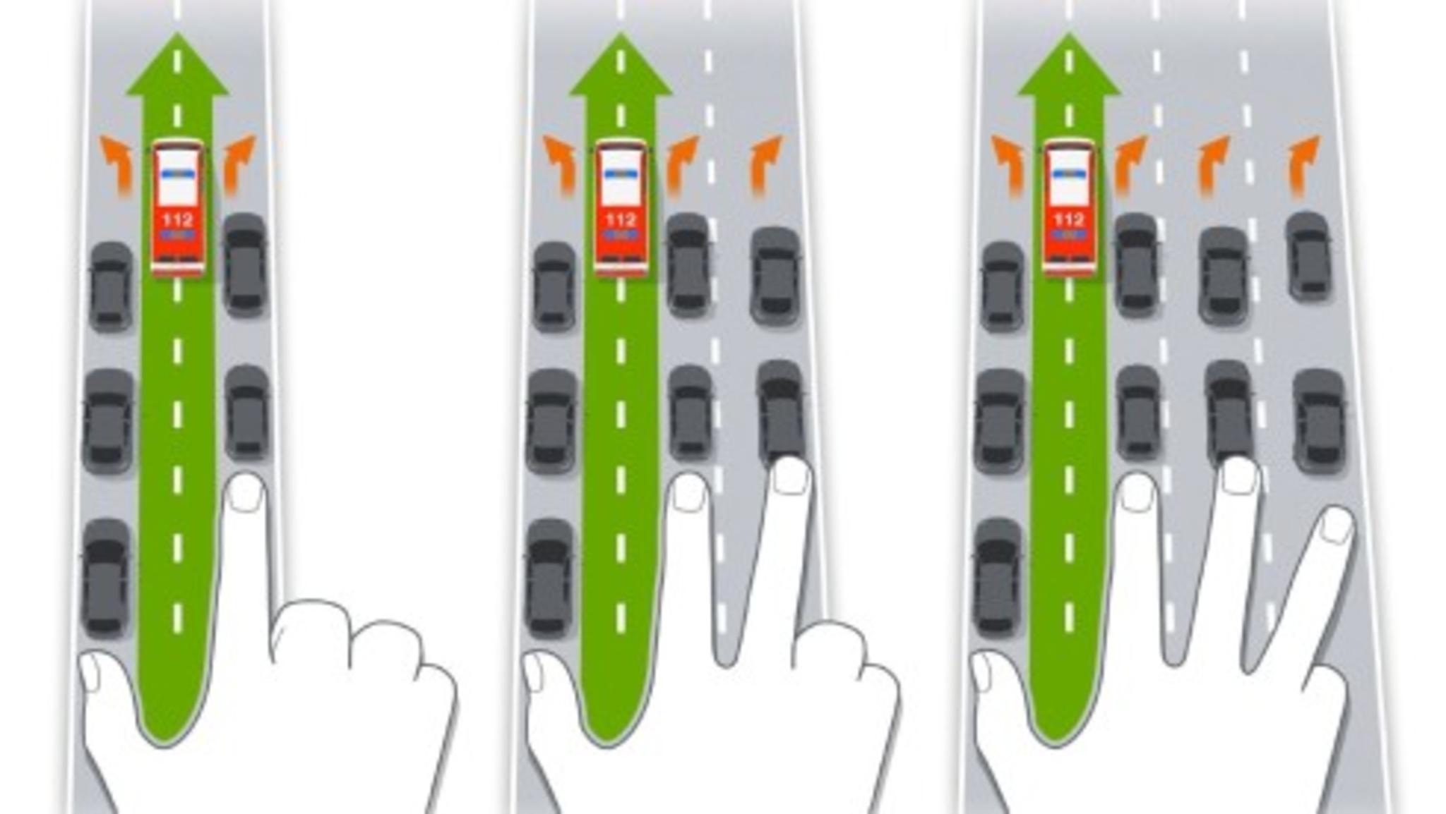 Rettungsgasse Bei Dreispuriger Autobahn