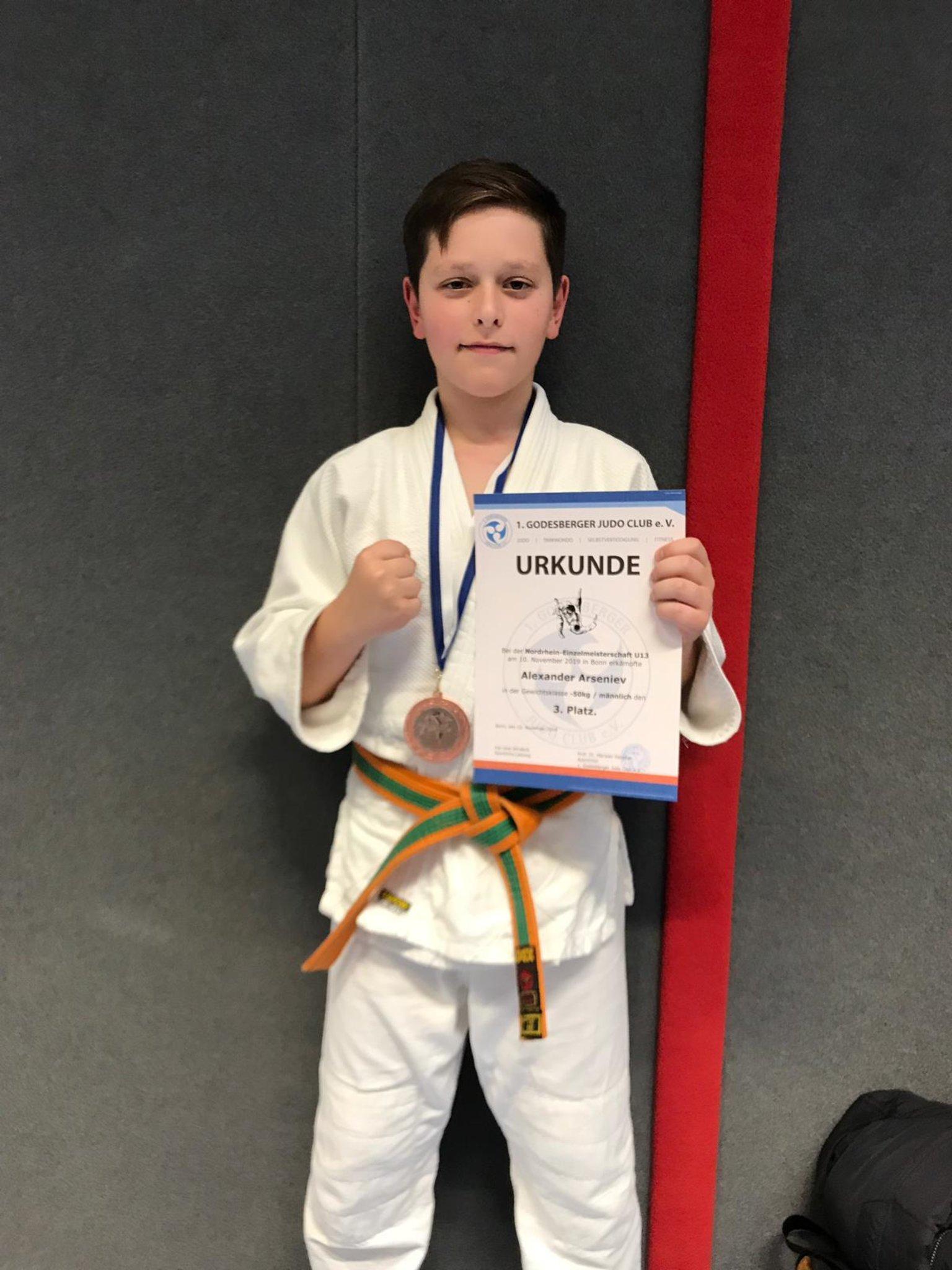 Judo Nordrhein-Einzelmeisterschaft U13 2019: Alex Arseniev vom Judo-Team Holten gewinnt Bronze bei den Nordrhein-Einzelmeisterschaften - Lokalkompass.de