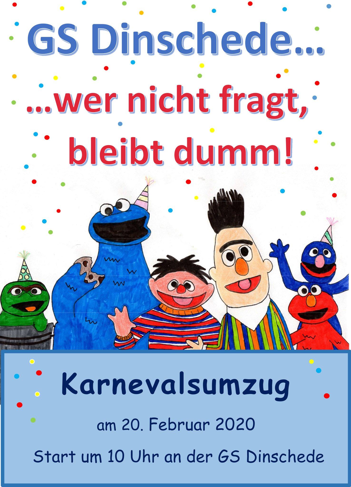 """Traditionell findet auch in diesem Jahr wieder der Karnevalsumzug der Oeventroper Grundschule an Lüttke Fastnacht statt. Unter dem Motto """"GS Dinschede … wer nicht fragt, bleibt dumm!"""" startet der Umzug um 10 Uhr auf dem Schulhof der Grundschule und führt zur Kirchstraße."""