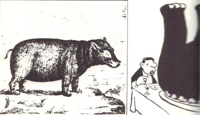 Loriot: Nilpferd in Burgunder