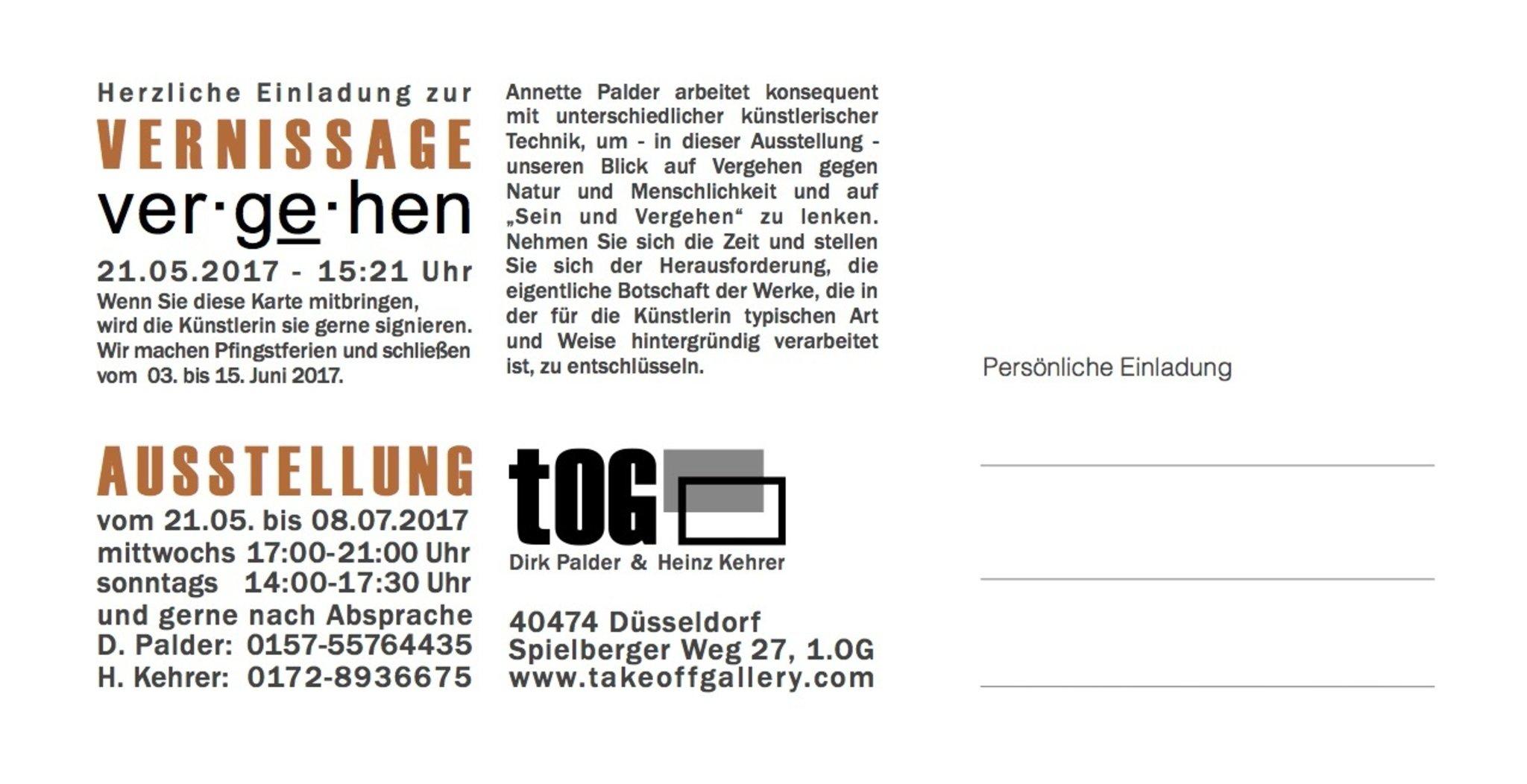 """Ausstellung """"ver·ge̱·hen"""" von Annette Palder"""